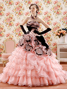 カラードレス ピンクのフリル×黒 カクテルドレス