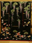 引き振袖 手描き 金彩 松に藤桜