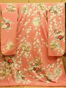 かわいいピンクの引き振袖 夢路ピンク桜