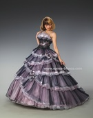 大人可愛いピンク×紺 プリンセスラインのカラードレス