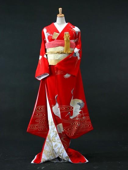 引き振袖(花嫁)紅赤アンティーク鶴波柄