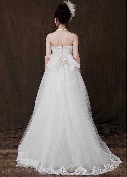 前上がりドレス ミニ ウェディングドレス