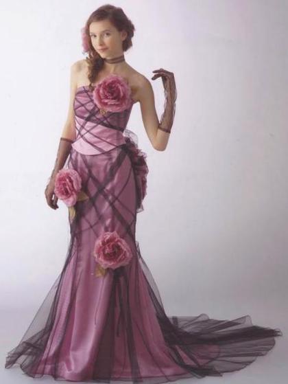 マーメイドラインのカラードレス(紫)