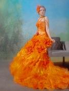 カラードレス オレンジカラーのフィット&フレアドレス