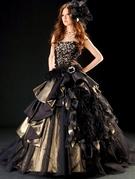 カラードレス ゴールド×ブラック 大きめビジューでクールなお色直し