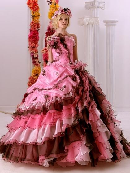 カラードレス ピンク~ワインカラーのグラデーションドレス