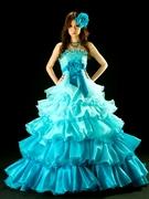 カラードレス マリンブルーのフリルがかわいいボリュームのあるエンパイアライン
