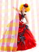 カラードレス ポップな赤×ドット柄リボン 大阪 滋賀 徳島 岐阜