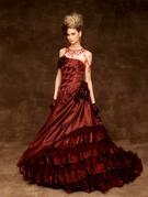 カラードレス ブラウン 茶色 のフィットアンドフレアライン