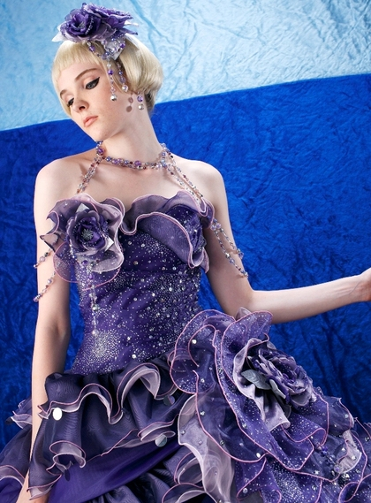 カラードレス バイオレット ビジュー グラデーションドレス