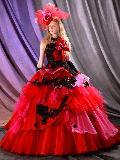 カラードレス 赤×黒レース