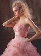 カラードレス ピンク ビジュー (襟フリル)
