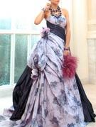 カラードレス ラベンダー ウエストを細くバランスよくみせるドレス migri