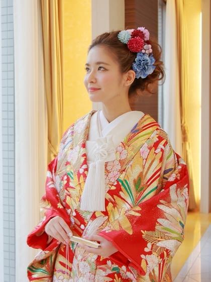 かわいい真紅の色打掛 大阪和装前撮り 色打掛 レンタル