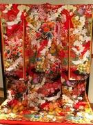 色打ち掛け 八重がさね 赤茶ぼかし花車に鶴刺繍