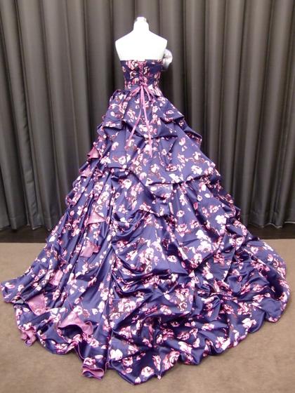 カラードレス 紺プリント花柄