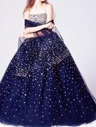 カラードレス 紺 シルバービジューが散りばめられたキラキラドレス