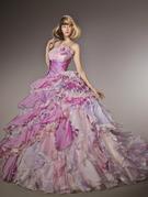 カラードレス パープル薄紫ミックスフリル