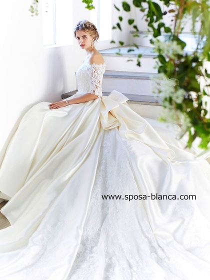 新作ドレス|チャペルウェディングにお勧めオフショルダーのウェディングドレス|ミカド