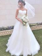 ウエディングドレス ハートカットがかわいいオーガンジーのエアリーなドレスsolo wedding dress