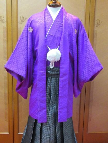 男紋付羽織袴 カラーバリエーション(新郎衣裳・成人式男子着物)ゼブラ柄 紫 モノトーン 白黒