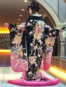 色打掛 黒地ピンクグラデーション 花刺繍 インパクトのあるお色直しに