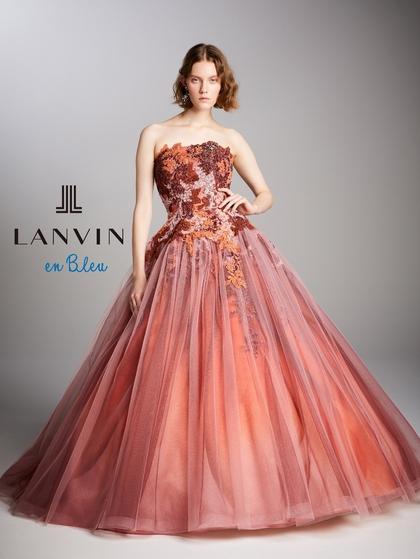 ランバンオンブルー新作カラードレス【LANVIN en Bleu】アースカラー茶オレンジ