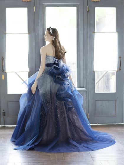 キラキラグリッターが華やかなネイビーブルーのカラードレス