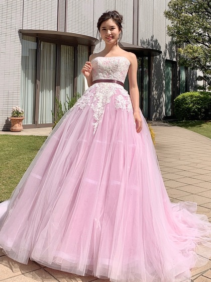 カラードレス ピンク パープル チュールのフェミニンドレス