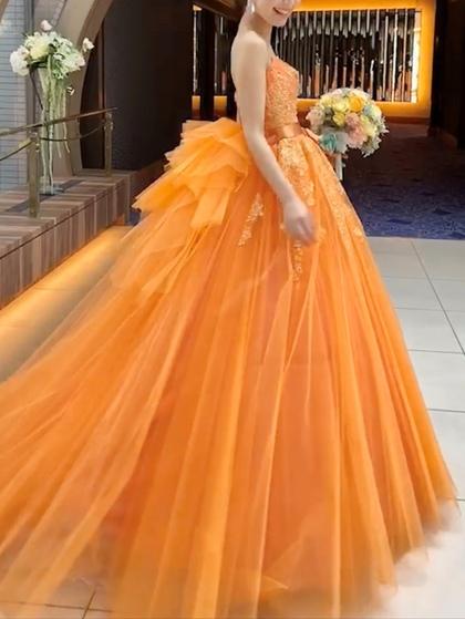 カラードレス オレンジ ビタミンカラーのチュールドレス