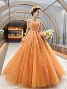 カラードレス Lulu felice(ルル・フェリーチェ)オレンジ ビタミンカラーのチュールドレス