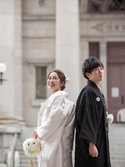 和装前撮り 白無垢赤フキ 大阪