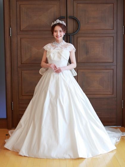 ウェディングドレス♡シルクサテン&レースのボレロ 2WAYの大人可愛いインポートドレス