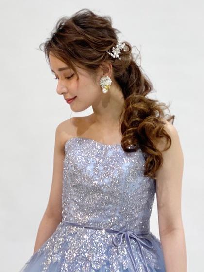 カラードレス くすみカラー ブルーグレーのグリッタードレス