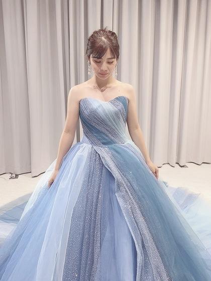KIYOKO HATA(キヨコハタ)新作カラードレス ブルーグレー