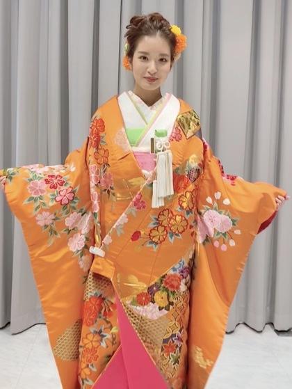 オレンジの色打掛 (ふき布ピンク)