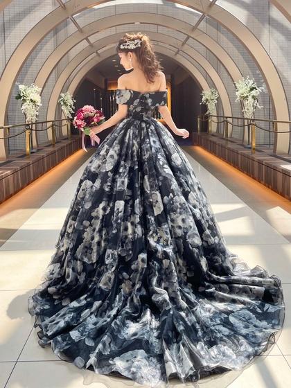 イサムモリタ カラードレス ブラック花柄